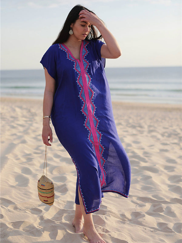 Loose Embroidered Kaftan Maxi Cover-up