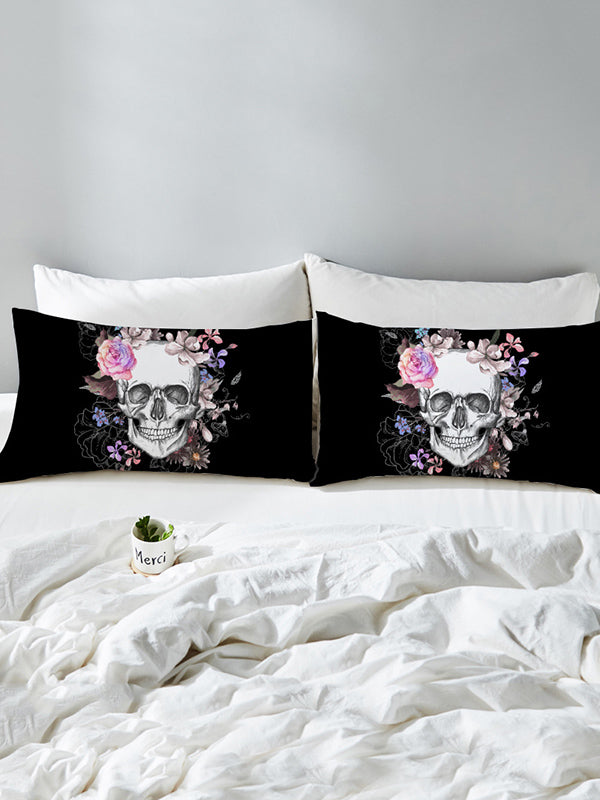 Skull Flower Pattern Twain Pillow Case