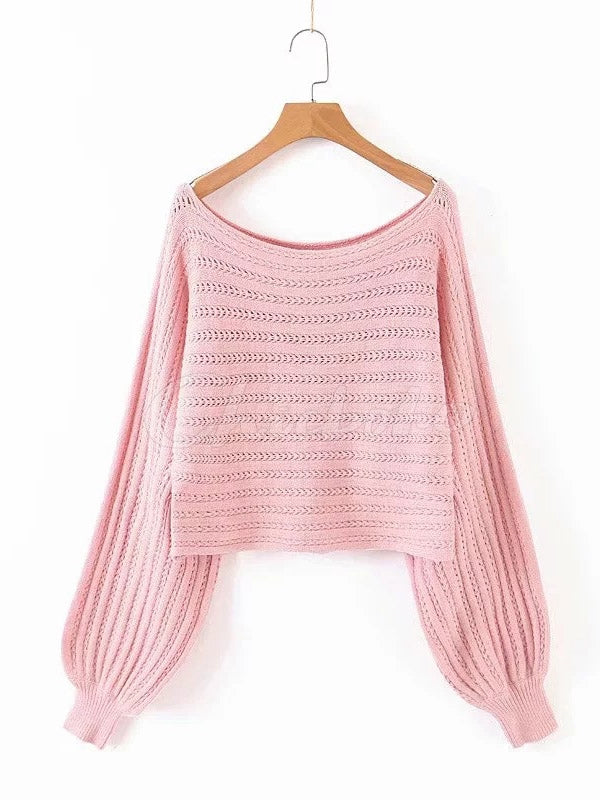 Loose Solid Off-the-shoulder Knitwear