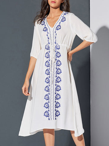Hollow Embroidered Belted Cover-up