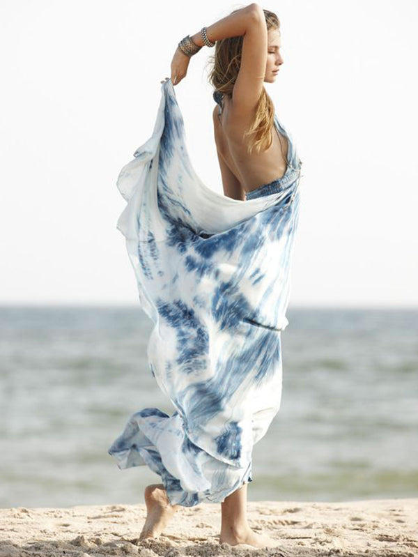 Tie-dyed Gradigant Backless Maxi Dress