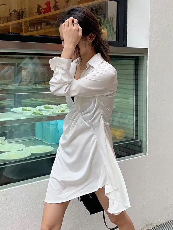 Plain Pleated Lapel Irregular Dress