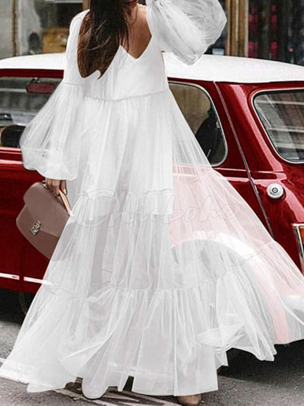 Fashion See-through Puff Sleeves Gauze Maxi Dress