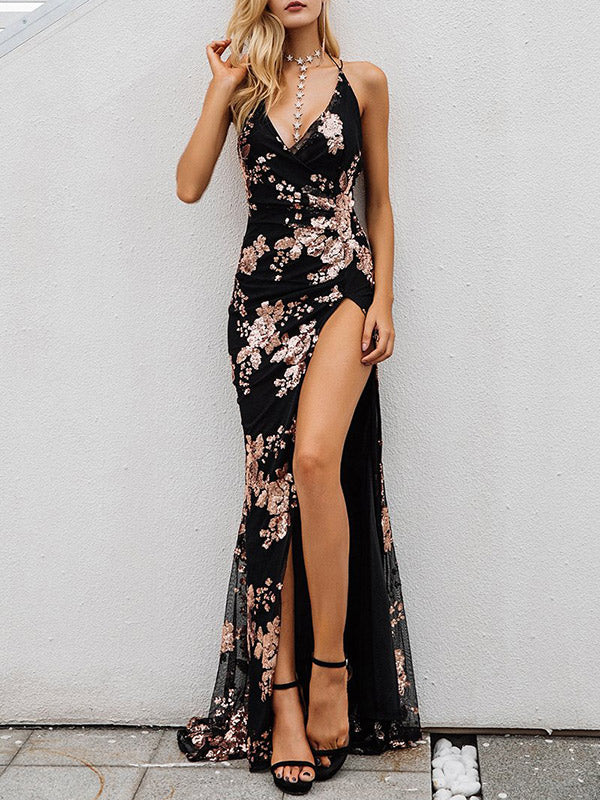 Backless Split-side Sequins Evening Dress