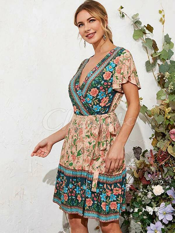 Floral-Print Flared Sleeves Flared Sleeves Bohemian Beach Dress