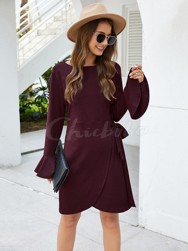 Sexy Plain Round-neck Mini Dress