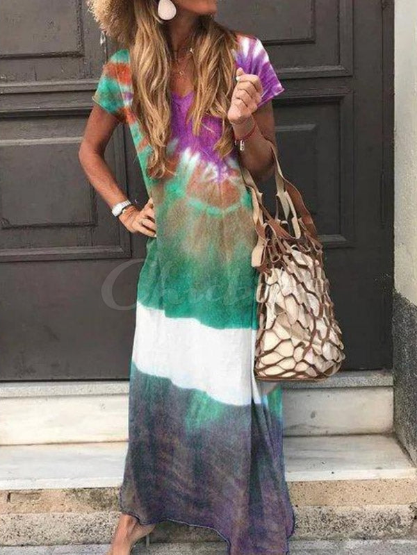 Printed V-neck Maxi Dress