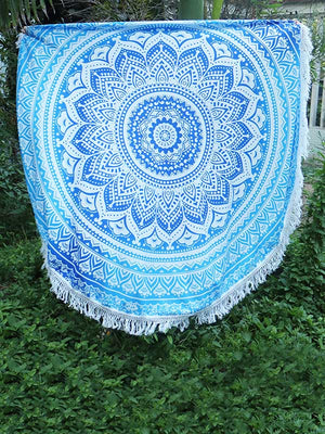 Fashion Printed Tasseled Round Beach Mat