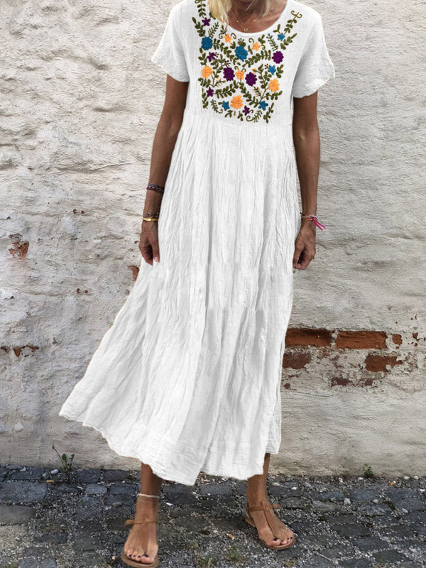 Embroidered 4 Colors Short Sleeves Casual Maxi Dress