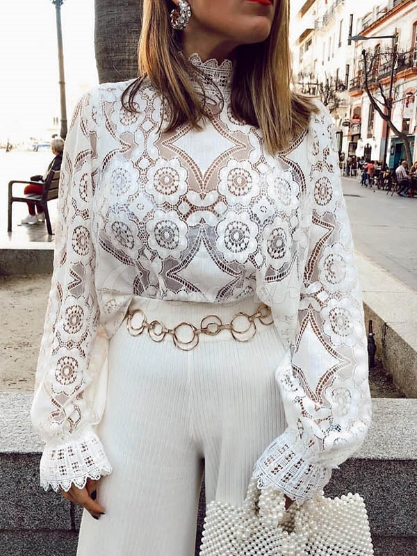 Sexy Lace See-Through Standing Collar Shirt