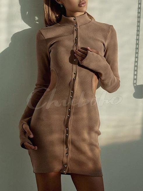 Sexy Hollow Round-neck Hip-package Mini Dress