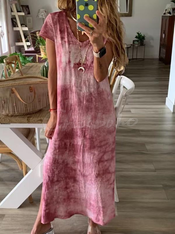 Tie-dyed Split-side V-neck Maxi Dress