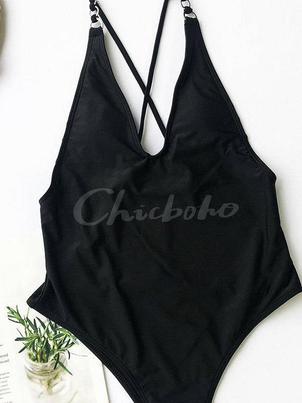 Chainette Plain One-Piece Swimsuit
