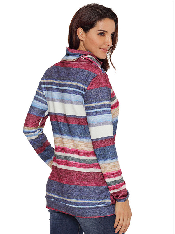 Multicolor Stripes Long Sleeves Outwear