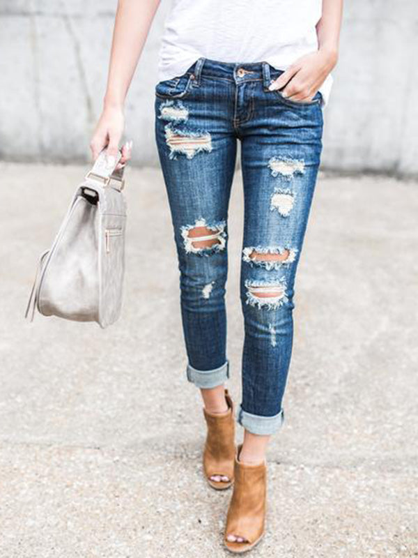 Fashion Ripped Jean Pants Bottoms