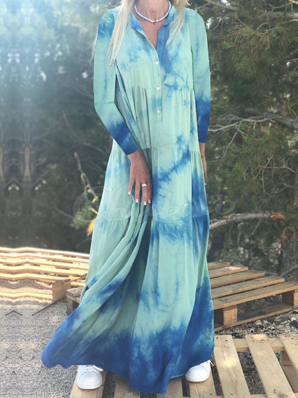Printed Lapel Long Sleeve Maxi Dress