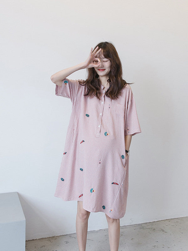 Maternity Printed Stand Collar Short Sleeves Midi Dress