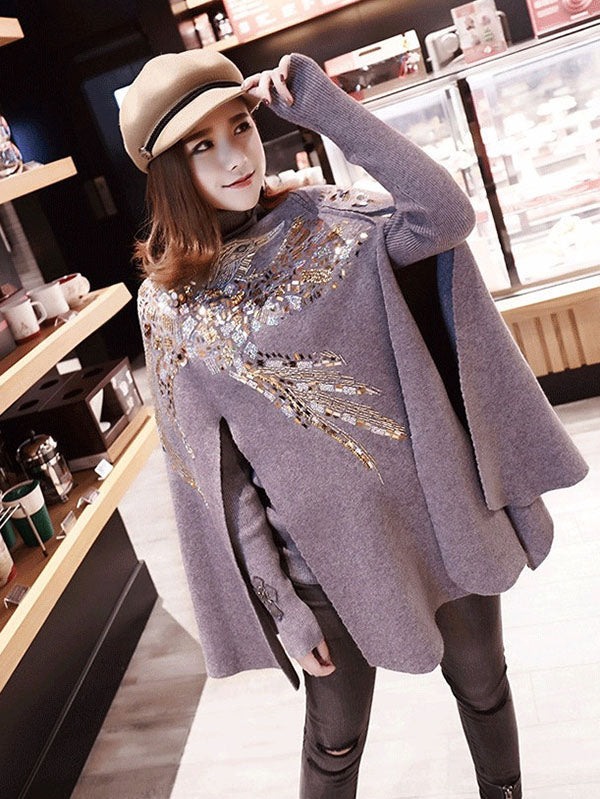 Inwrought Sequined Fashion Black Cape