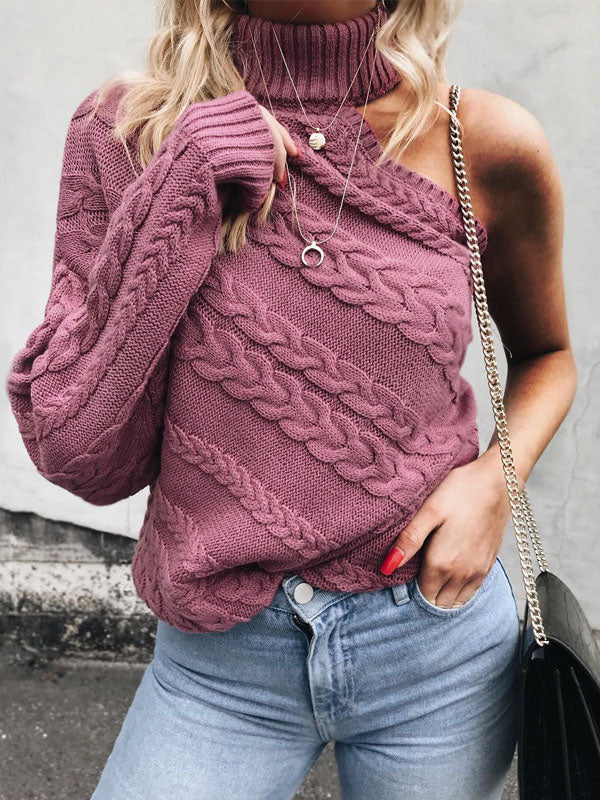 Sexy Solid Color Knitting Round-neck Sweater Tops