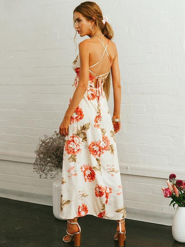 Bohemia Floral Backless Maxi Dress