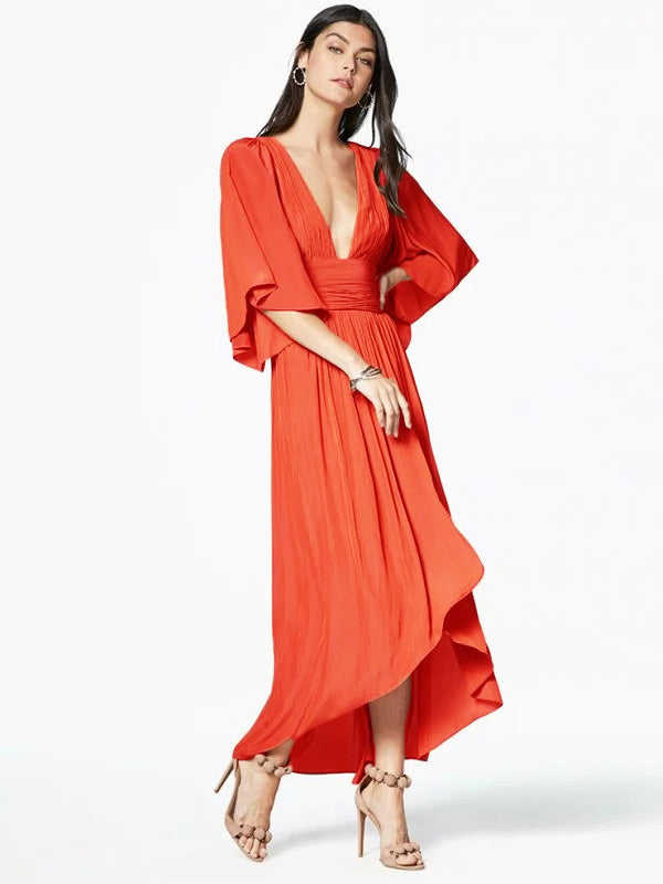 Solid Cropped Backless V-neck Maxi Dresses