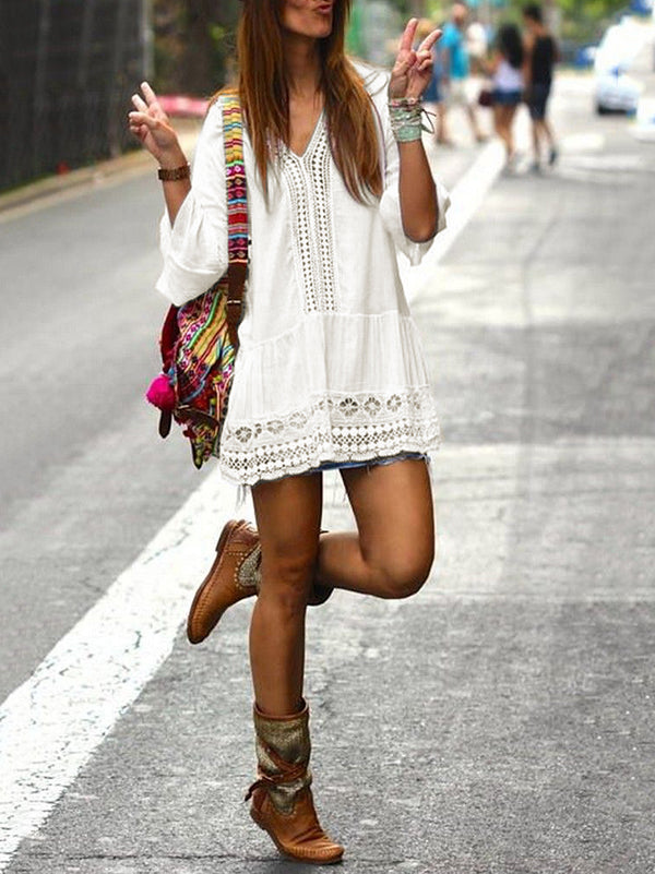 White Lace Hollow Split-joint Mini Dress