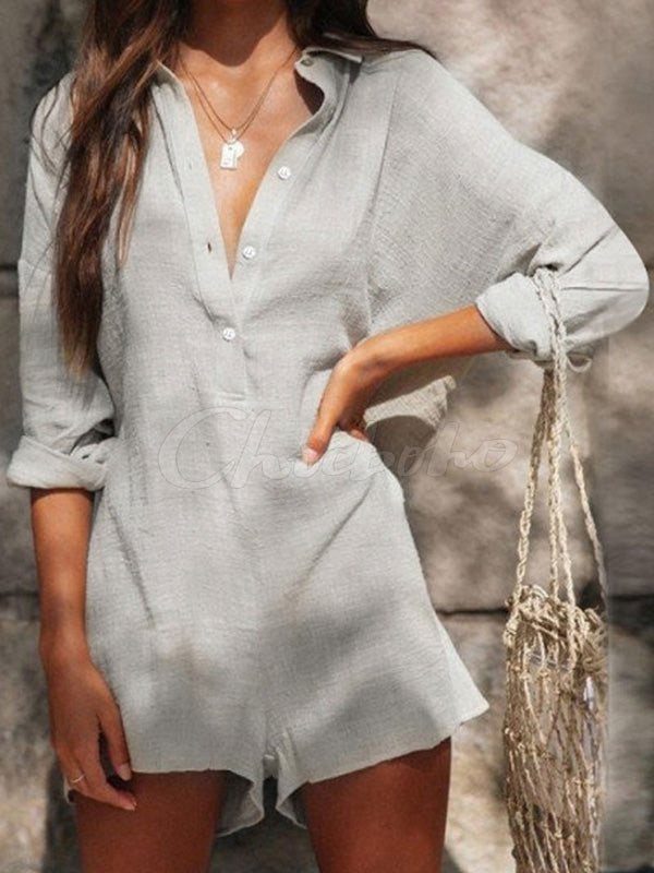 Loose Casual Long Sleeve V-neck Romper