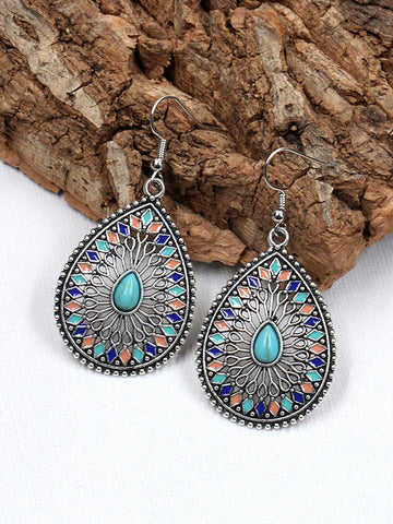 Bohemia Retro Blue Natural Stone Geomertry Earrings