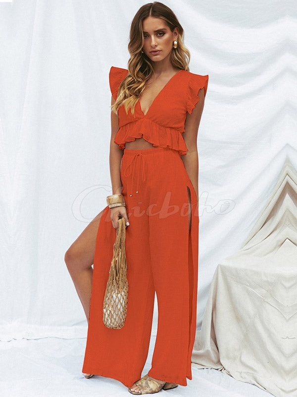Ruffled Sleeveless V-neck Top And Split Wide-leg Pants Set