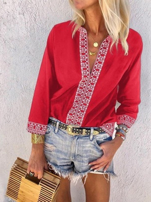 Printed Long Sleeves Blouses&shirts Tops