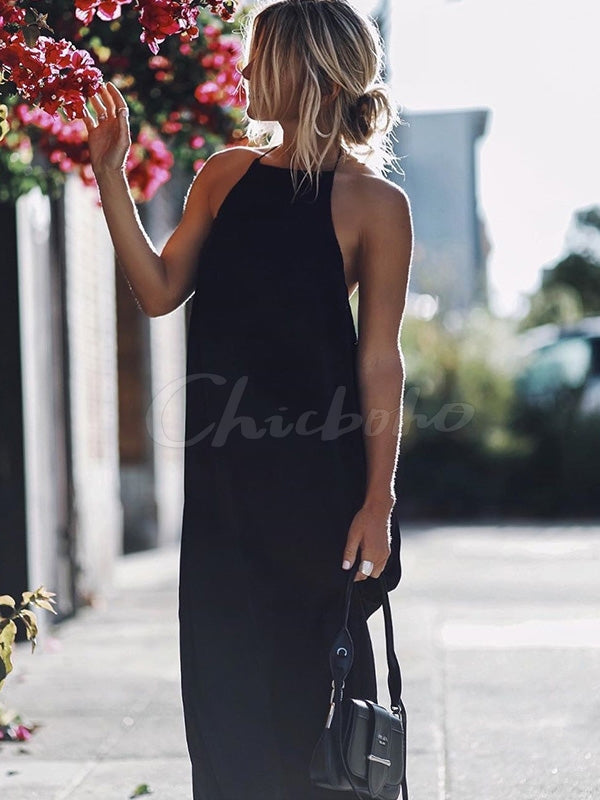 Sexy V-Back Black Maxi Dress