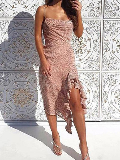 Sexy Falbala Spaghetti-neck Midi Dress
