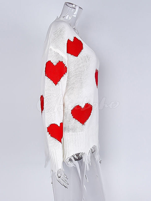Fringed Tasseled Love Printed V-neck Sweater