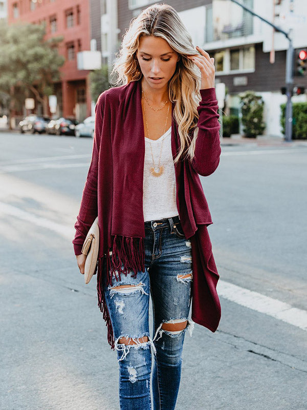 Solid Color Tassels Cardigan Tops