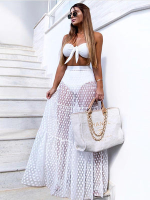 Polka-dot See-Through Split-joint Skirt Bottoms