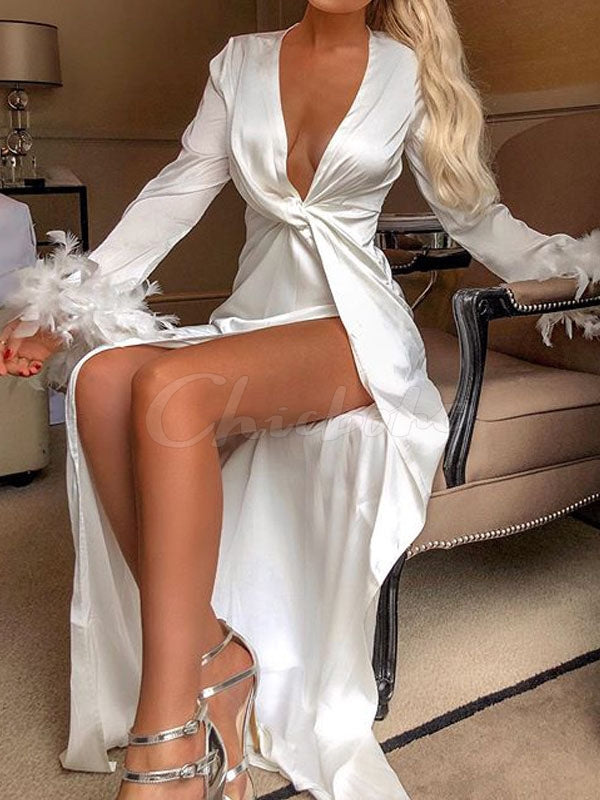 Solid V-Neck Sexy Long Dress