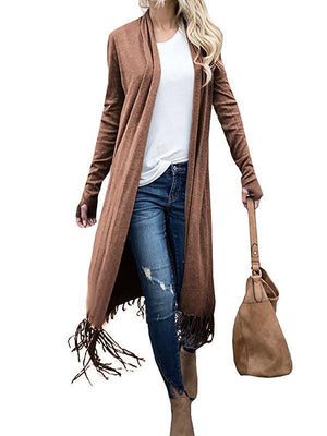 Tasseled Long Sleeves Cardigan Top