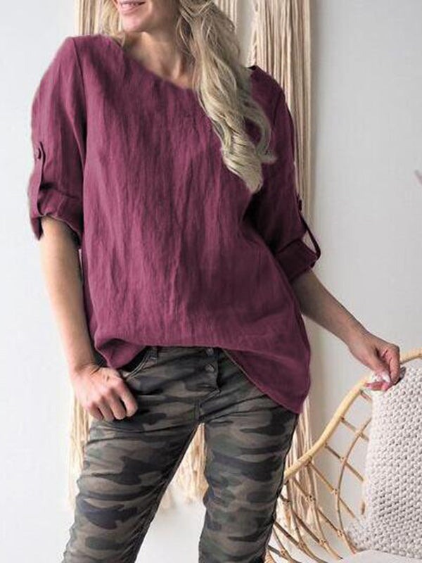 Short Sleeves Solid Color Blouses&shirts Tops