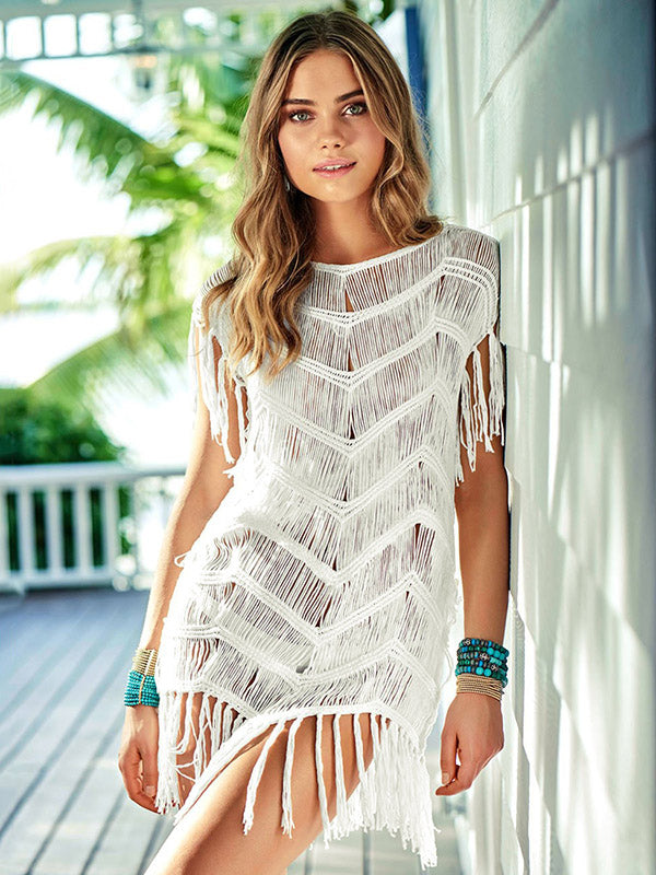 Hollow Knitted Tasseled Beach Cover-ups