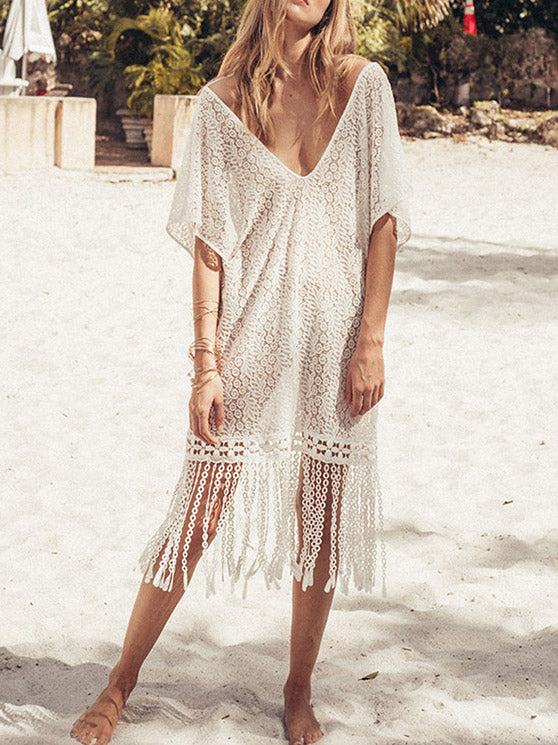 Tasseled Split-joint Hollow V-neck Cover-up