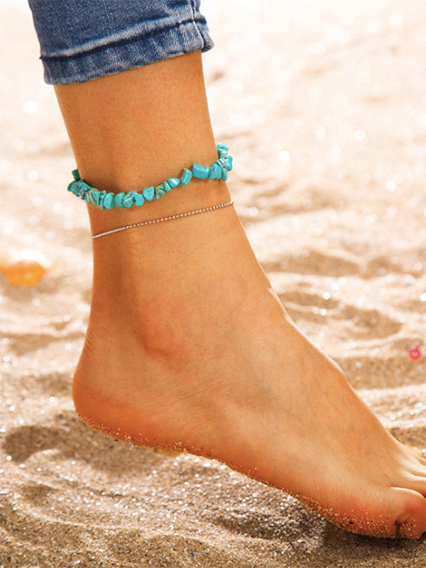 Two-pieces Turquoise Alloy Footchain Accessories