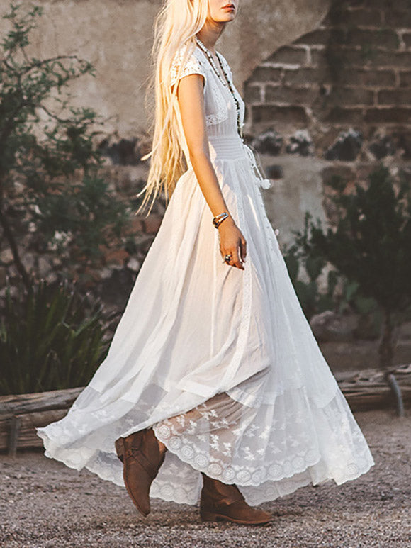 Lace Embroidered V-neck Maxi Dress