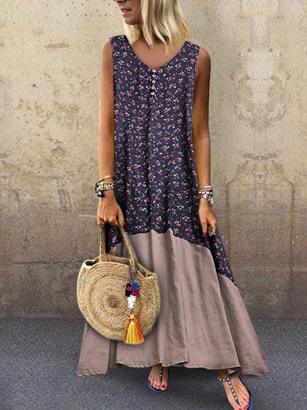Loose Printed Sleeveless Split-joint Maxi Dress