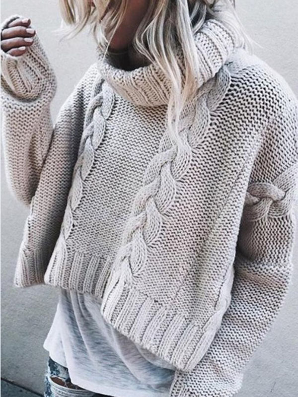 High-neck Long Sleeves Solid Color Sweater Tops