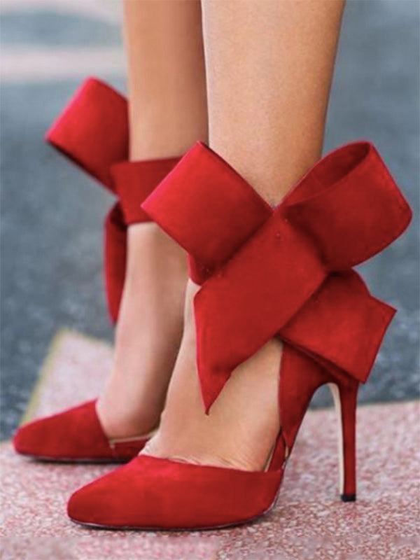 Pretty Bowknot Pointy High Heeled Shoes