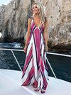 Deep V-neck Striped Bohemia Maxi Dress