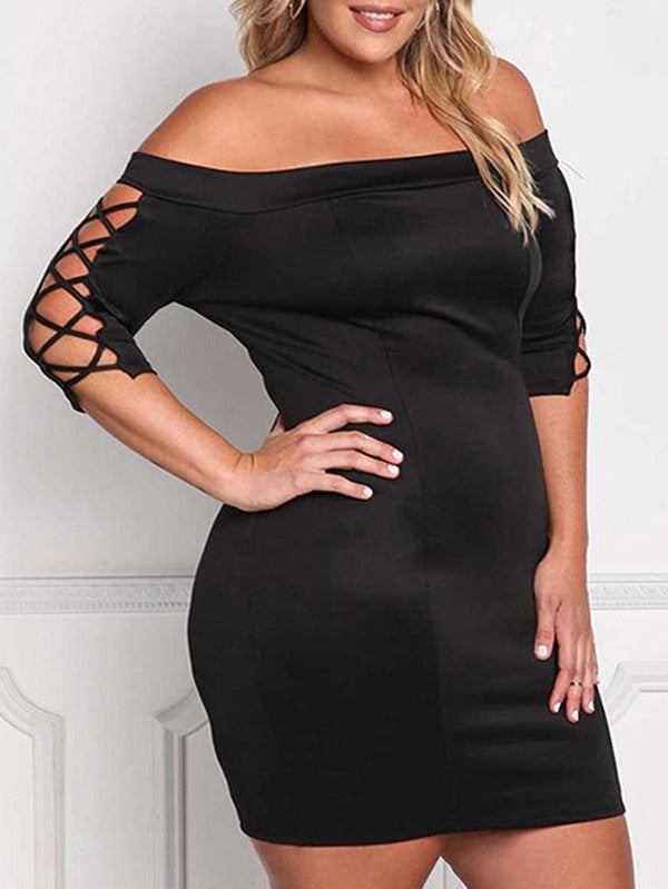 Plus Size Hollow Sleeve Off Shoulder Mini Dress