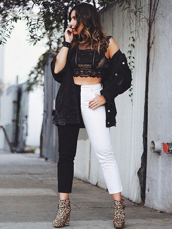 White Black Paneled Pants