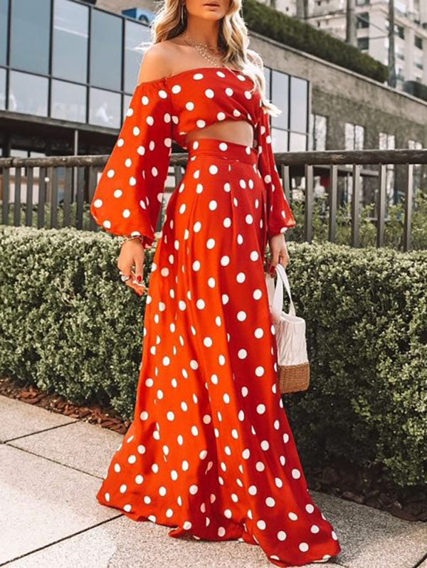 Polka-dot Puff Sleeves Blouses&Skirt Suits