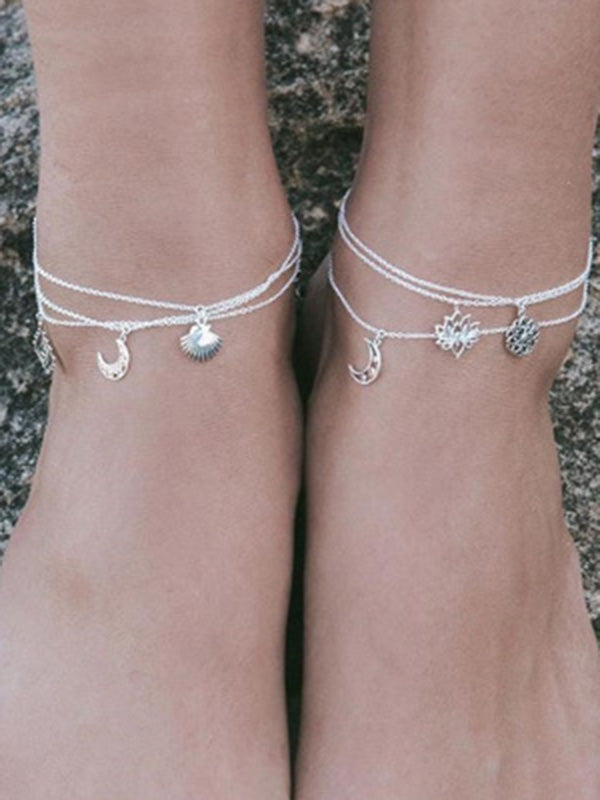 Bohemian Shell Lotus Moon Circle Anklet Accessories